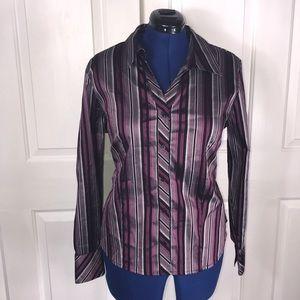 Caslon 16W vertical striped button down shirt